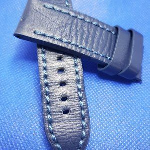 Custom Vintage Distressed Leather Strap 24mm Blue